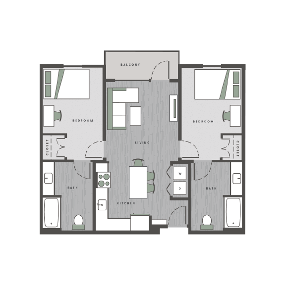 2 bedrooms, 2 bathrooms floor plan