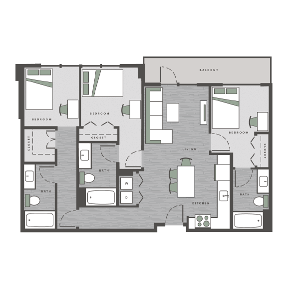 three bedrooms, three bathrooms floor plan