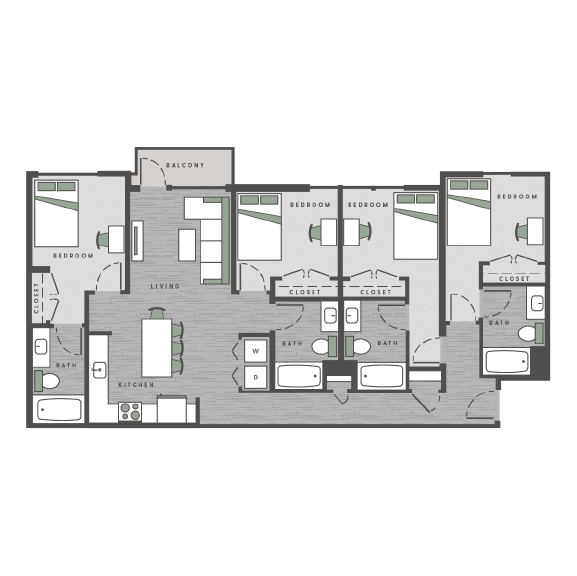 four bedrooms, four bathrooms floor plan