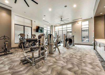 Luxury fitness center with commercial style machines, free weights, and two flatscreen televisions.
